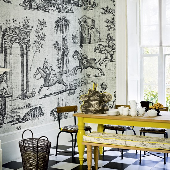 Toile Wallpaper Black And White