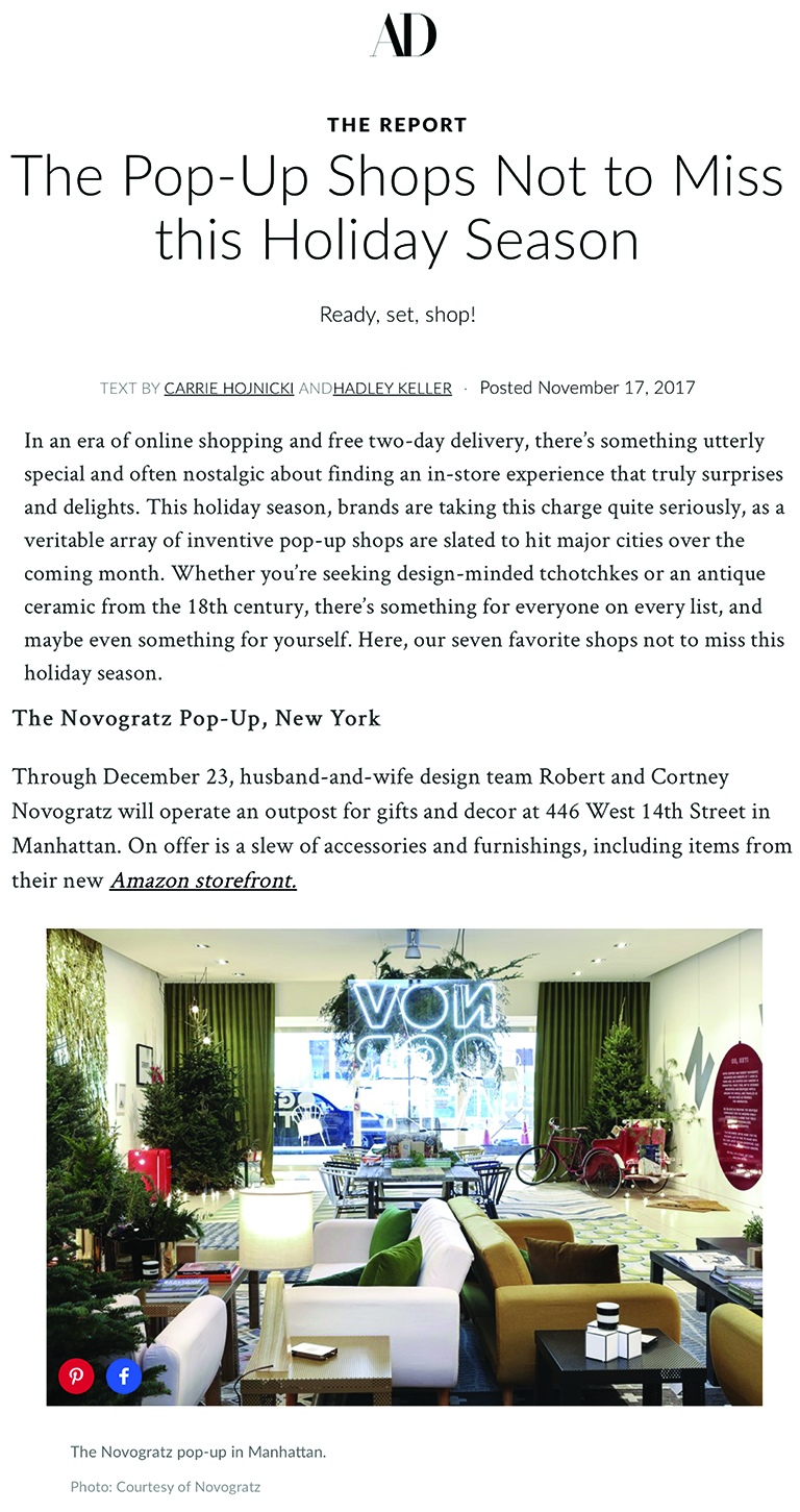 Architectural Digest | Holiday Pop-Ups Not to Miss