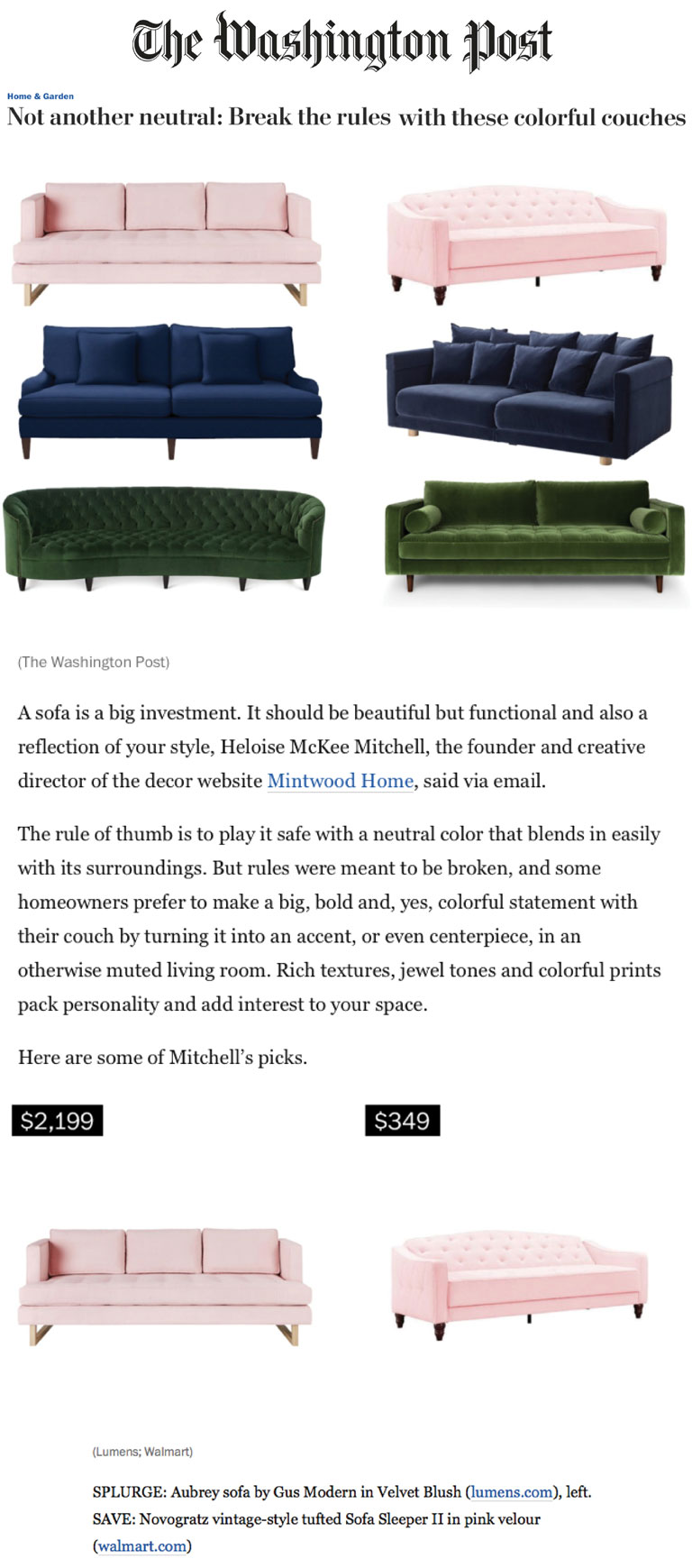 The Washington Post | Colorful Couches