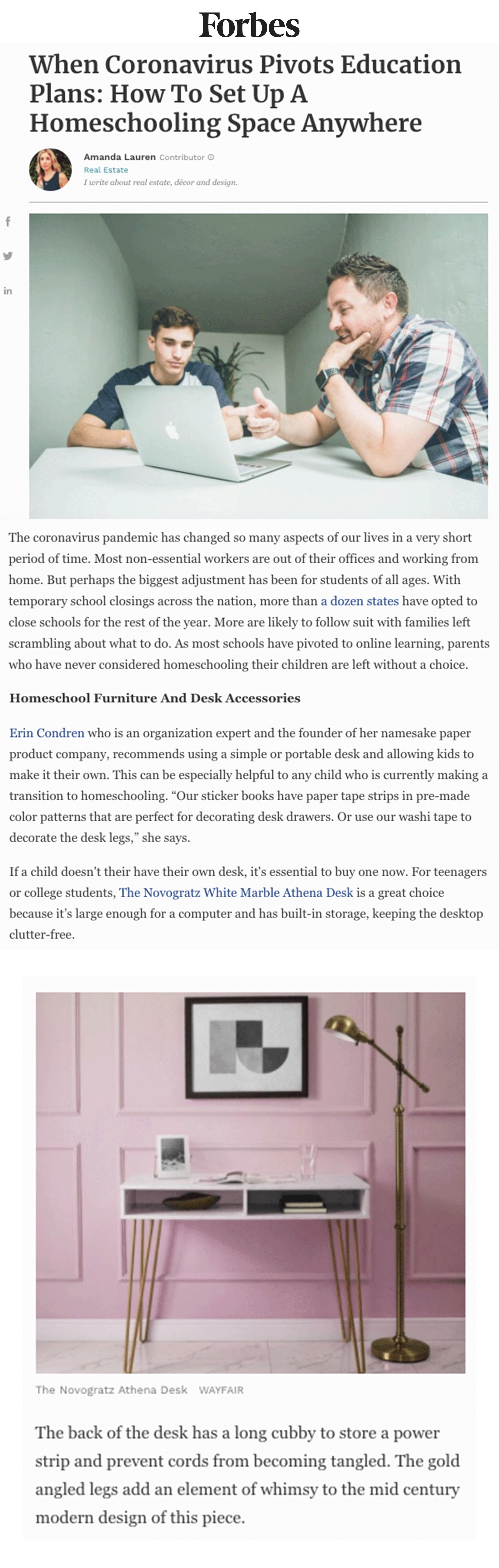 Forbes | When Coronavirus Pivots Education Plans: How To Set Up A Homeschooling Space Anywhere